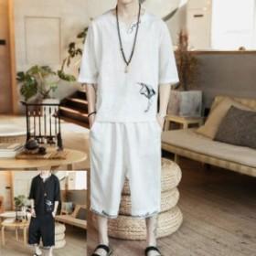 セットアップメンズ スウェットセットアップ プリント ジャージ 棉麻 半袖 Tシャツ サルエルパンツ 部屋着 夏物 薄手 涼しい 大きいサイ