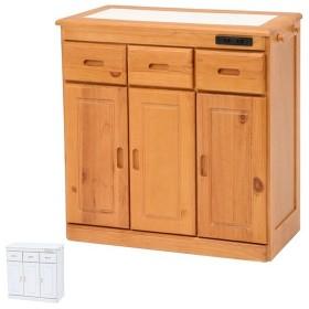 キッチンカウンター 天然木 タイル天板 キャスター付 幅69cm ( カウンター キッチン タイル キャスター )