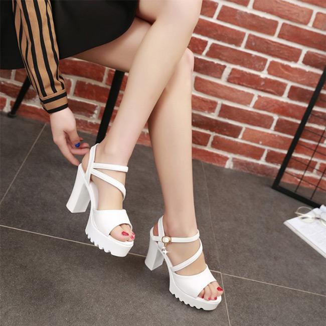 FOFU-高跟鞋韓版時尚水鑽扣露趾粗跟高跟鞋【02S11038】