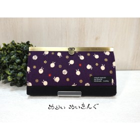 うさドットの口金長財布/紫