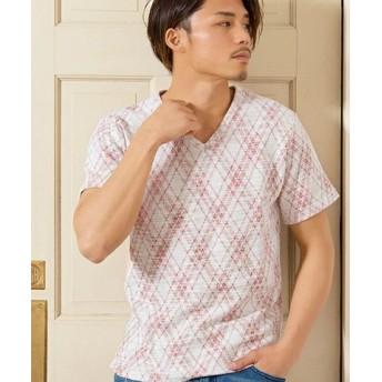 (SILVER BULLET/シルバーバレット)CavariA【キャバリア】スラブネップチェックVネック半袖Tシャツ/メンズ レッド
