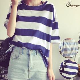 Tシャツ - shoppinggo ボーダーTシャツ 半袖 体形カバー 大きいサイズカットソー ゆったり