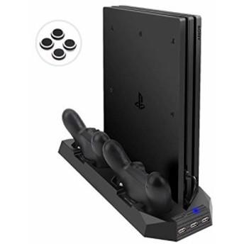 LIDIWEE PS4 Proスタンド PS4プロに対応 プレイステーション4 ps4pro 縦置きスタンド コントローラー2台充電 USBハブ3ポー