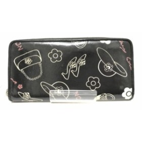 adb8b13ac830 マリークワント MARY QUANT 長財布 レディース 黒×白×ピンク ラウンドファスナー コーティングキャンバス