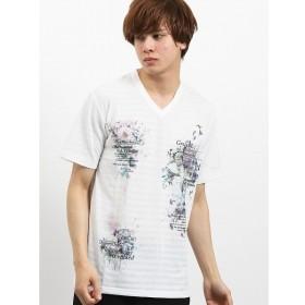 [マルイ]【セール】地柄ボーダー昇華転写グラフィックVネック半袖Tシャツ/セマンティックデザイン(semantic design)