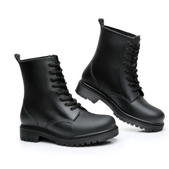 FOFU-雨靴馬丁雨鞋中筒休閒雨靴防水繫帶套腳防滑情侶款鞋【09S2335】