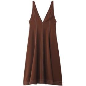 SALE 【50%OFF】 LE CIEL BLEU ルシェルブルー コントラストステッチプランジネックドレス ブラウン