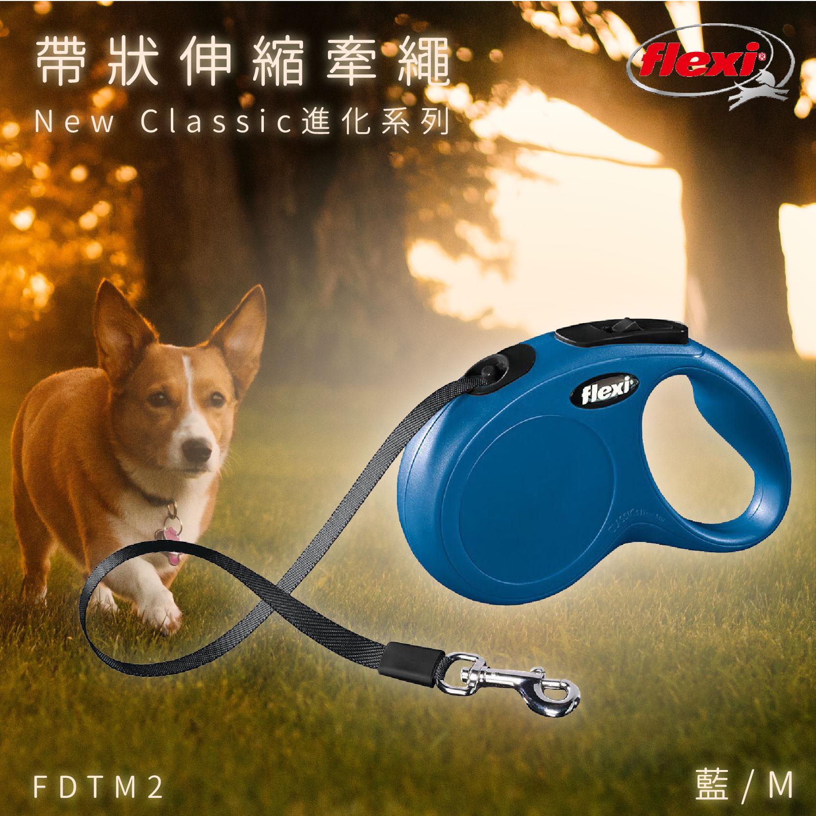 Flexi 帶狀寵物牽繩 藍M FDTM2 進化系列 舒適握把 狗貓 外出用品 寵物用品 寵物牽繩 德國製