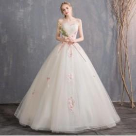 ウェディングドレス 森ガール系 結婚式 花嫁 新品 お姫系 ストラップレスドレス  フワフワ ホワイト系 ブライダル ロングドレス 花柄 シ