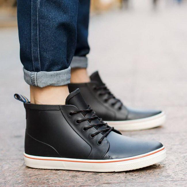 FOFU-雨靴短筒繫帶時尚雨靴低筒休閒套腳式防滑情侶款鞋【09S2336】