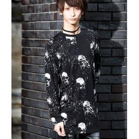 (SILVER BULLET/シルバーバレット)Bernings Sho【バーニングショー】スカル総柄プリントロング丈Tシャツ/メンズ ブラック