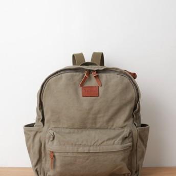 ウォッシュ加工キャンバスリュック カーキ / washed canvas back pack khaki