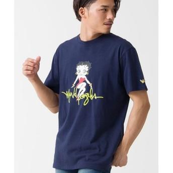 (SILVER BULLET/シルバーバレット)MARK GONZALES【マークゴンザレス】ビッグプリントクルーネック半袖Tシャツ/メンズ ネイビー 送料無料