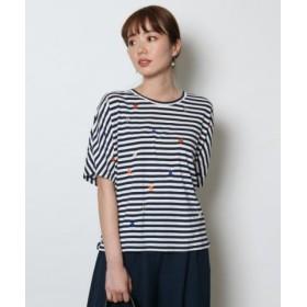 (SCOTCLUB/スコットクラブ)FENNEL(フェンネル) スター刺繍Tシャツ/レディース シロクロP