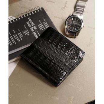 (sankyoshokai/サンキョウショウカイ)折り財布 小銭入れ付き メンズ 本革 カイマン レザー シャイニング/メンズ ブラック 送料無料