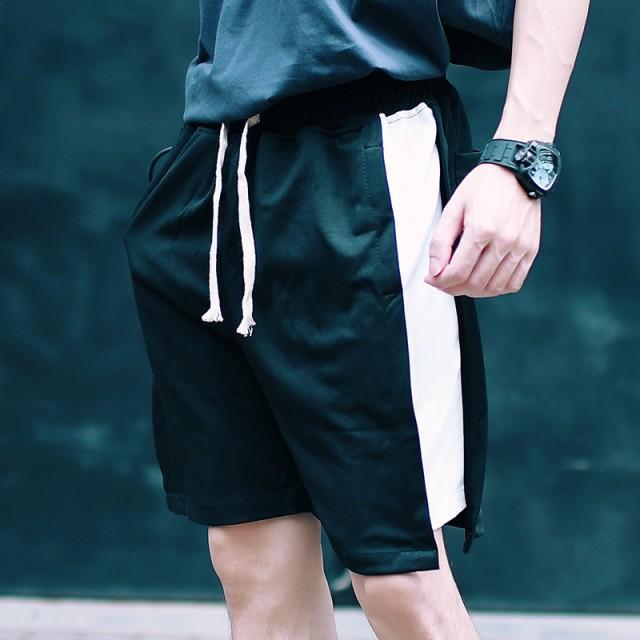 その他パンツ・ズボン - BIG BANG FELLAS スポーツミックスコーデに メンズ サイドストライプハーフパンツ ショートパンツ ショーツ ジャージパンツ メンズファッション モードモードストリート ストリート系 春 夏 サマー 個性 韓国 B系 スケーター ヒップホップ