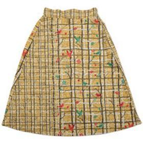 SALE開催中【グラニフ:スカート】チェックパターンニットフリースミドルレングススカート(ブランチプレイド)