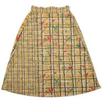【グラニフ:スカート】チェックパターンニットフリースミドルレングススカート(ブランチプレイド)