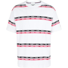 《期間限定セール開催中!》TOMMY JEANS メンズ T シャツ フューシャ S コットン 100% TJM SIGNATURE STRIPE