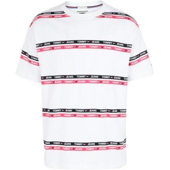 《セール開催中》TOMMY JEANS メンズ T シャツ フューシャ L コットン 100% TJM SIGNATURE STRIPE