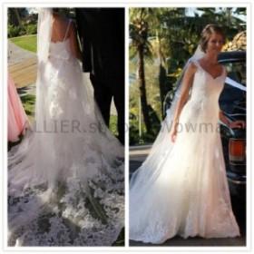 ウェディングドレス ヴィンテージAラインVネックのウェディングドレスレースホワイトアイボリーの花嫁衣装  Vi