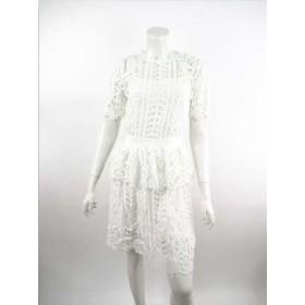 【上代¥64,000の80%OFF】blugirl【ブルーガール】【レディース】ペプラムデザイン総レースワンピース・ドレス/ホワイト【サイズ38】