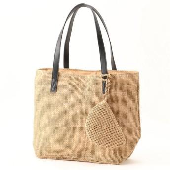 バッグ カバン 鞄 かごバッグ ポーチ付きカゴバッグ カラー 「ベージュ」