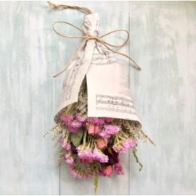 バラとスターチスのドライフラワーの花束2(スワッグ)