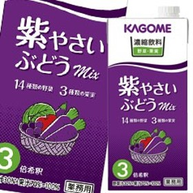 【送料無料】カゴメ 濃縮飲料紫やさい・ぶどうミックス(3倍濃縮)1L×1ケース(全6本)