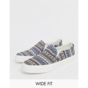 エイソス メンズ スニーカー シューズ ASOS DESIGN Wide Fit slip on sneakers in blue geo-tribal Blue