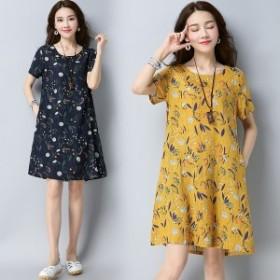 ワンピース 夏の花 レトロカジュアル リネンドレス 緩い 大きなヤード 綿 Aラインのドレス