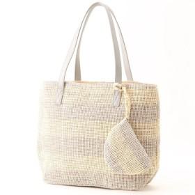 バッグ カバン 鞄 かごバッグ ポーチ付きカゴバッグ カラー 「ライトベージュ」