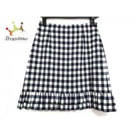 マニアニエンナ スカート サイズF レディース 美品 黒×グレー×白 チェック柄/フリル   スペシャル特価 20190829
