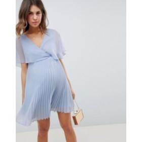エイソス レディース ワンピース トップス ASOS DESIGN Maternity mini dress with pleat skirt and flutter sleeve Dusty blue