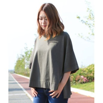 (SocialGIRL/ソーシャルガール)オーバーサイズピグメントスリットクルーネックTシャツ/レディース ブラック