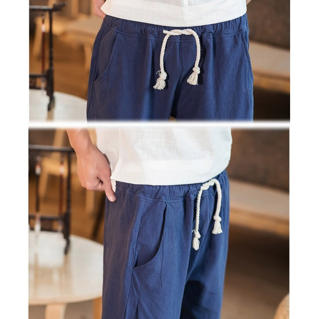 その他パンツ・ズボン - BIG BANG FELLAS 気分を変える メンズ チャイナパンツ 七分丈 クロップドパンツ チャイナ釦 リラックスパンツメンズファッション ストリート 春 夏 サマー 個性 韓国 衣装