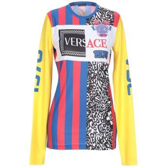 《期間限定セール開催中!》VERSACE レディース T シャツ ブルー 40 ポリエステル 100%