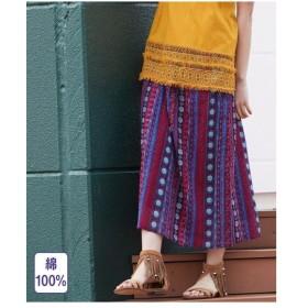 スカート ロング丈 マキシ丈 大きいサイズ レディース インド綿総柄 ロング 薄手素材  L〜10L ニッセン