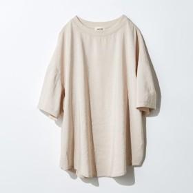 とろみ素材のTシャツブラウス〈ベージュ〉 MEDE19F フェリシモ FELISSIMO【送料無料】