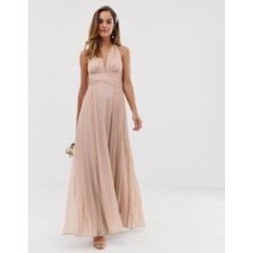 エイソス レディース ワンピース トップス ASOS DESIGN Bridesmaid ruched bodice drape maxi dress with wrap waist Soft blush