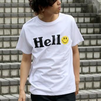 Tシャツ - MARUKAWA Tシャツ メンズ 夏 スマイル プリント 半袖 ホワイト/ブラック/イエロー M/L/LL【 ティーシャツ SMILE スマイリーアメカジ かわいい】