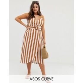 エイソス レディース ワンピース トップス ASOS DESIGN Curve wrap midi dress with buckle belt in stripe Stripe