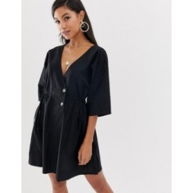 エイソス レディース ワンピース トップス ASOS DESIGN v front v back casual smock mini dress with buttons Black