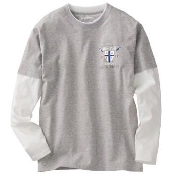 【メンズ】 綿100%素材のフェイクレイヤードデザイン プリントTシャツ - セシール ■カラー:ミディアムグレー ■サイズ:L,3L,LL,5L
