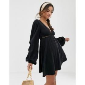 エイソス レディース ワンピース トップス ASOS DESIGN broderie mini dress with tuck sleeve Black