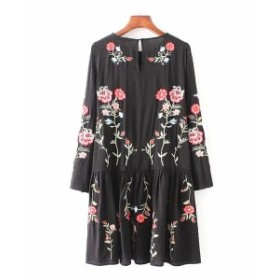 ワンピース 花柄 ワンピ 刺繍 フォークロア 膝丈 七分袖 ブラック