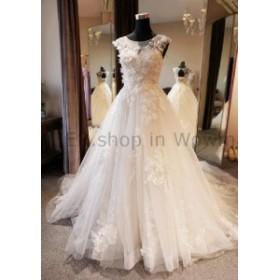 ウェディングドレス プリンセスイリュージョンネック手作りの花のウェディングドレスラインレースの花嫁衣装  Princess Ill