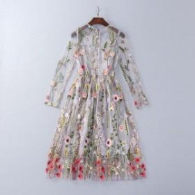 ワンピース 花柄 ドレス シースルー ワンピ 長袖 刺繍 グレー