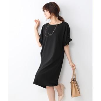 新色追加しました♪【ジャージーシリーズ】タックスリーブポケット付サックワンピース (ワンピース)Dress