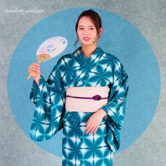 浴衣 - Ainokajitsu 女性浴衣 レディース浴衣 浴衣 単品 浴衣単品 仕立て上がり 女性用 フリー ホワイト グリーン 幾何学 ぼかし 絞り風